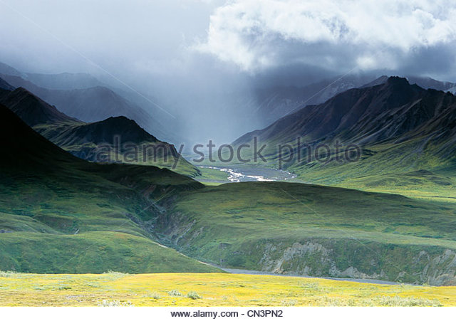 Polychrome Pass, Denali National Park, Alaska, USA - Stock Image