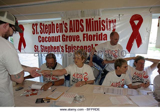 Miami Beach Florida AIDS Walk Miami Care Resource HIV epidemic community resource benefit fundraiser volunteer ministry - Stock Image