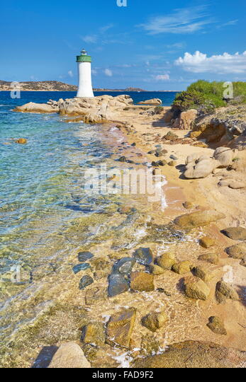 Sardinia Island - Lighthouse, Palau Beach, Italy - Stock Image