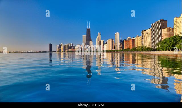 Panoramic capture of Chicago on Lake Michigan - Stock-Bilder