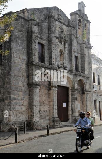 Santo Domingo Dominican Republic Ciudad Colonial historic district Calle Padre Billini Iglesia Regina de la Angelorum - Stock Image
