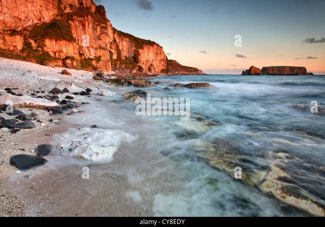 Larrybane on the antrim coast captured at sunrise. Northern Ireland. - Stock-Bilder