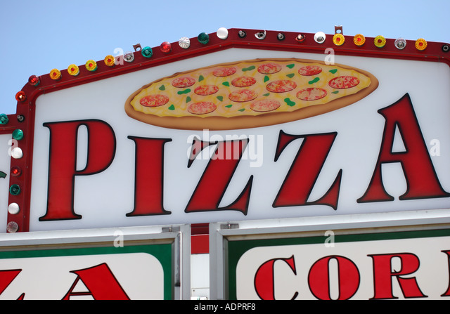 Florida, electric sign, Pizza, advertising, marketing, food, - Stock Image