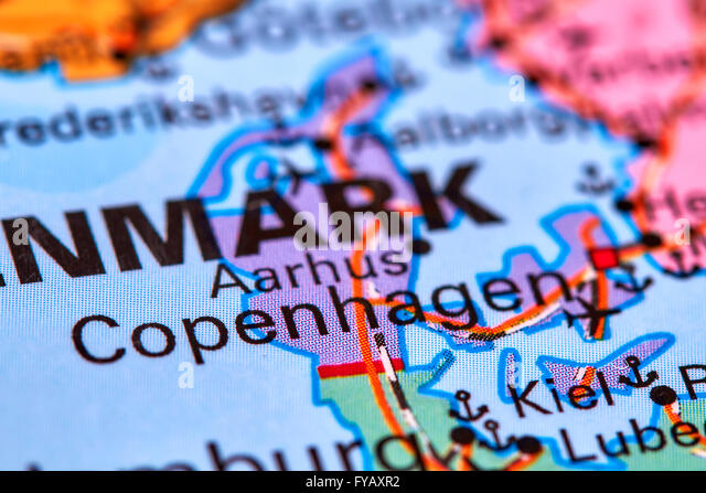 Copenhagen, Capital City of Denmark on the World Map - Stock Image