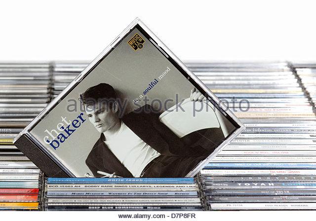 Chet Baker album In a Soulful Mood, piled music CD cases, England - Stock Image