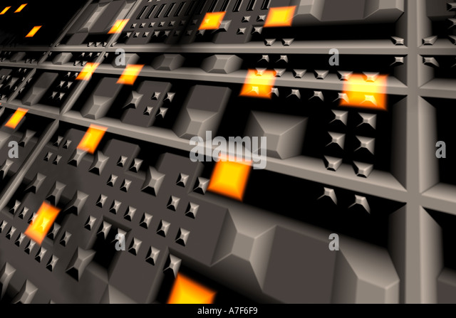 close up of Circuits, lights and buttons - Stock Image