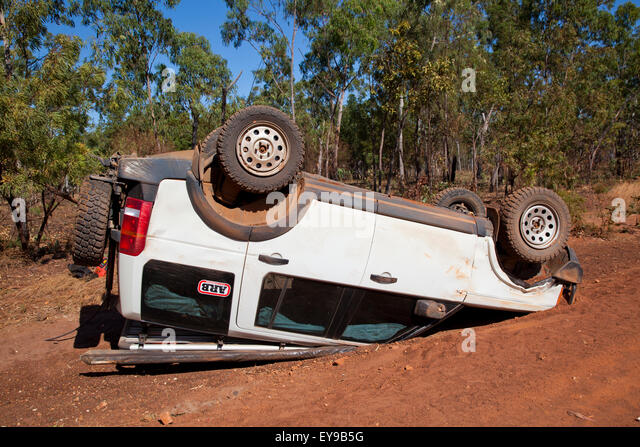 Australia, Northern Territory, Carpentaria Hwy, accident on Wollogorong Rd - Stock Image