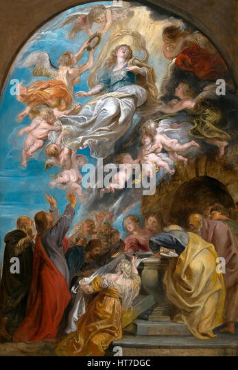 Modello for the Assumption of the Virgin, by Peter Paul Rubens, circa 1622, Royal Art Gallery, Mauritshuis Museum, - Stock Image