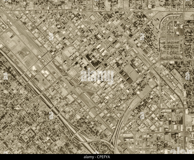 historical aerial photograph Fresno, 1972 - Stock Image