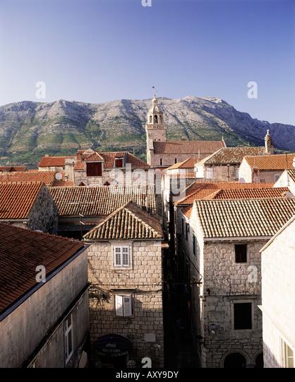 Elevated view of Korcula town looking across to the Peljesac Peninsula, Korcula Island, Dalmatia, Dalmatian coast, - Stock-Bilder