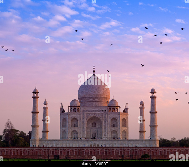India, Uttar Pradesh, Agra, birds flying near Taj Mahal in late evening light - Stock Image