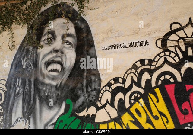 Graffiti star mural stock photos graffiti star mural for Bob marley mural san francisco