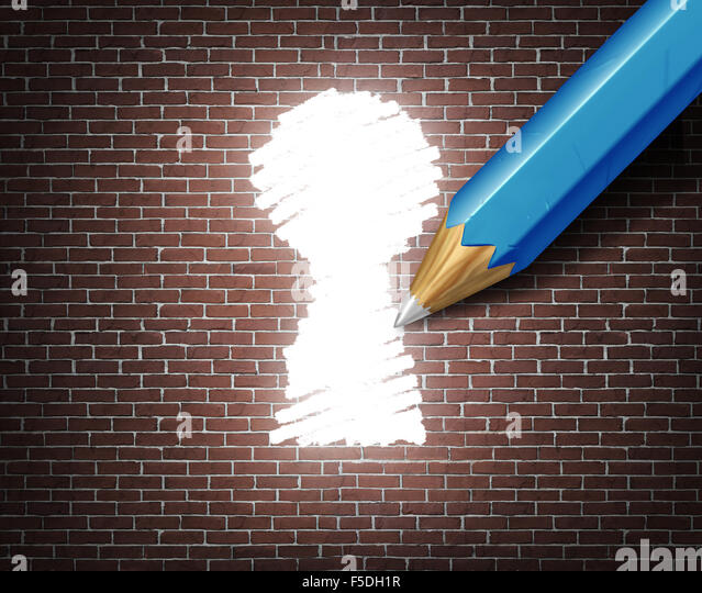 Business possibility idea concept as a white tipped pencil drawing a keyhole shape on a brick wall as an access - Stock-Bilder