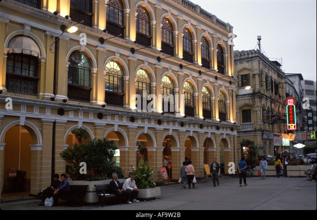 Macau Macao European architecture near Central Plaza dusk - Stock Image