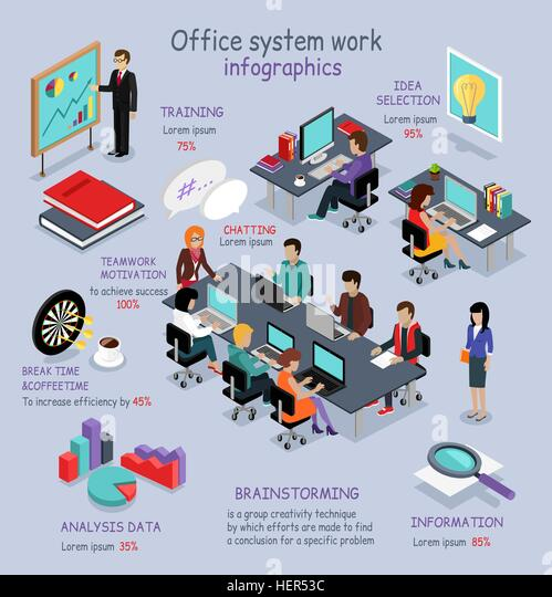 Isometric office system work infographic. 3D office interior, office desk, business and office people, office room, - Stock-Bilder