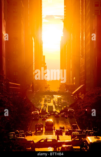 Sunset view of 42nd Street in Summer, New York City. - Stock Image