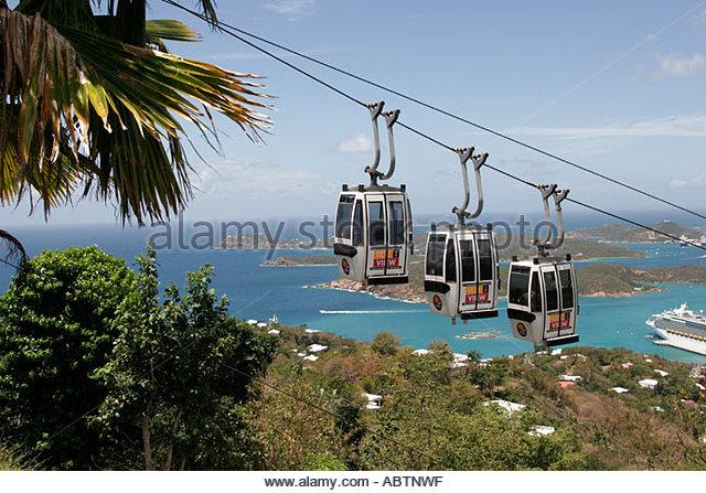 St. Thomas USVI Paradise Point Skyride cable car Charlotte Amalie Harbor Caribbean Sea - Stock Image