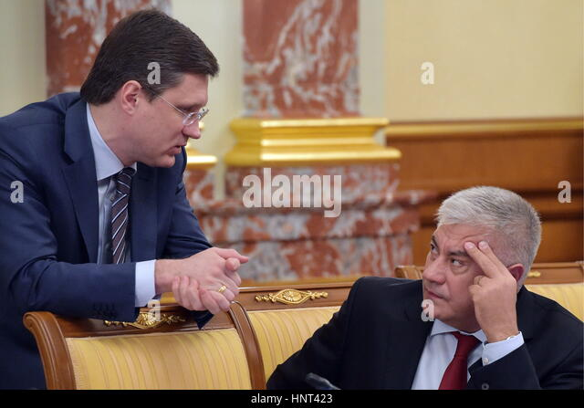 Moscow, Russia. 16th Feb, 2017. Russia's Energy Minister Alexander Novak (L) and Russia's Interior Minister - Stock Image