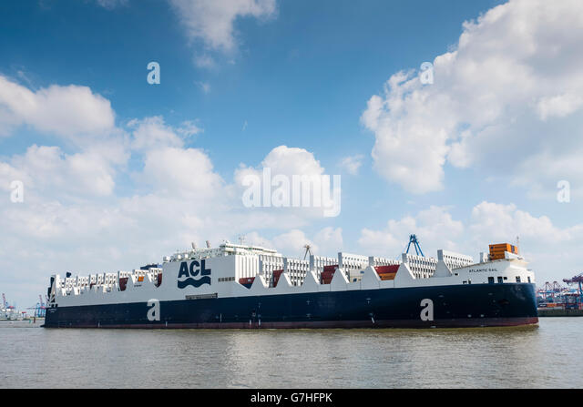 New Atlantic Sail ship leaving Port of Hamburg on River Elbe. Ship is new ACL ConRo G4 generation combined Roll - Stock Image