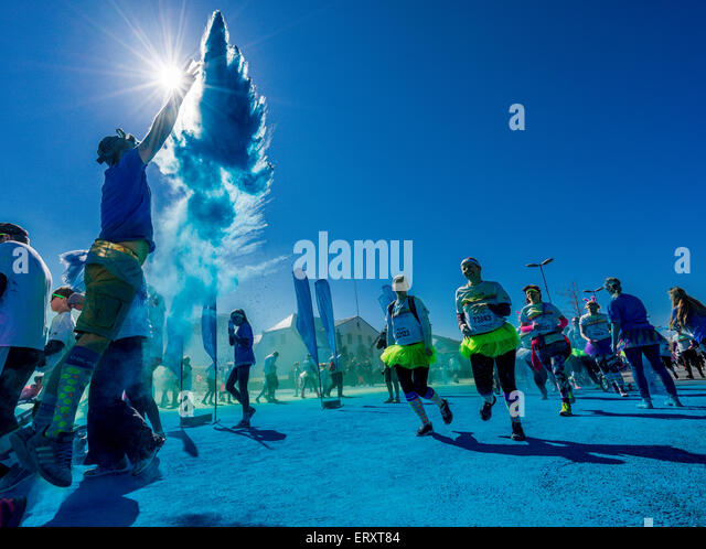 The Color Run, Reykjavik, Iceland. 'Happiest 5k run on the Planet'. This was the first Color Run held in - Stock-Bilder