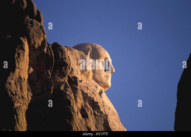 South Dakota Mount Rushmore National Memorial George Washington iconic american president  hero image - Stock Image