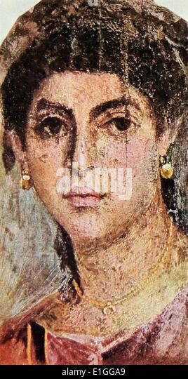 Funerary portrait of an unknown Roman Female. The portrait was discovered in Egypt. - Stock Image