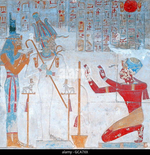 fine arts, ancient world, Egypt, wall painting, Isis and Osiris, Temple of Sethos I, Abydos, - Stock Image