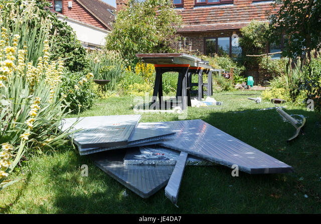 Polycarbonate roof sheets as used on a DIY conservatory roof project, UK - Stock Image