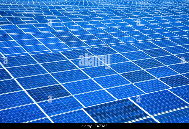 large area solar panel and Power plant - Stock Image