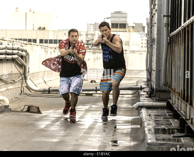 22 JUMP STREET - 2014 Columbia Pictures film with Channing Tatum (at right) and Jonah Hill - Stock Image