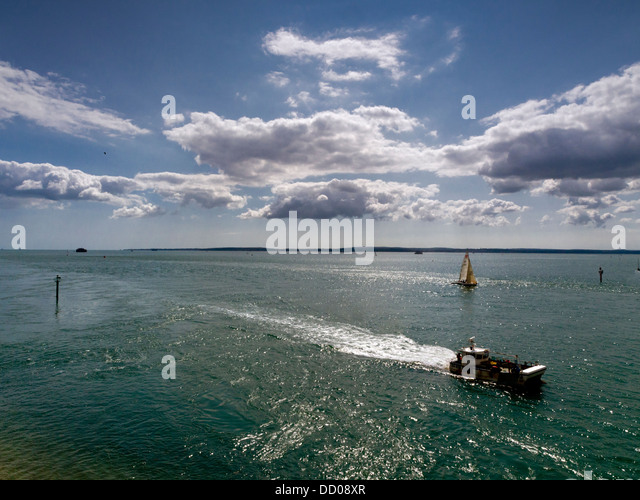 The Solent from Portsmouth, Hampshire, with the Isle of Wight in the background - Stock Image