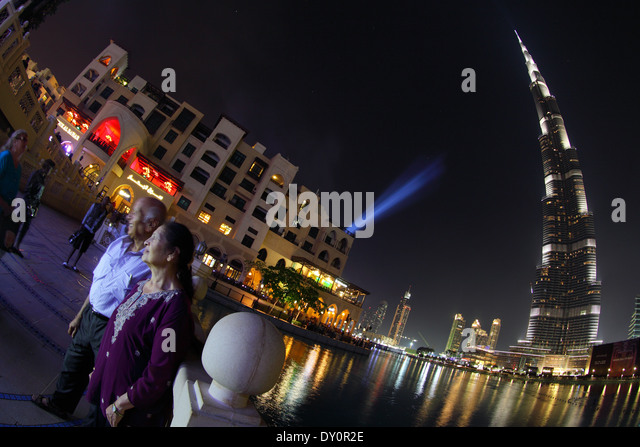 Burj Khalifa, Burj park, night lightshow fountain, Dubai - Stock Image