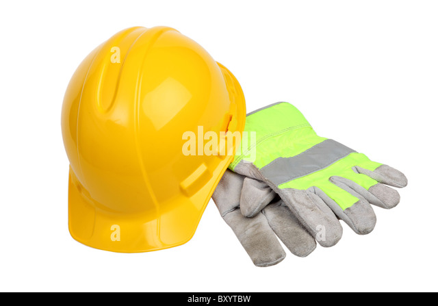 Construction Hard Hat and work gloves on white background - Stock-Bilder
