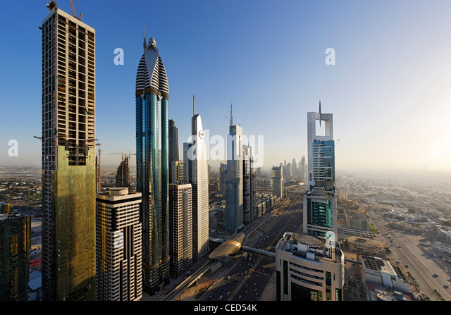 View of downtown Dubai, to the left ROSE RAYHAAN by Rotana, towers, skyscrapers, hotels, modern architecture, Sheikh - Stock Image