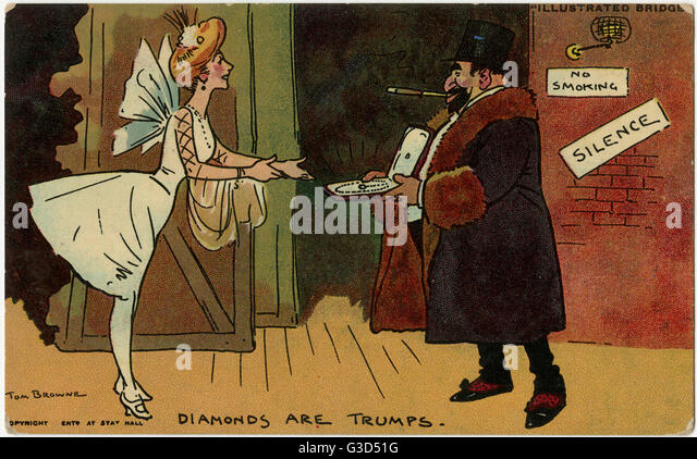 Illustrated Bridge (series) - 'Diamonds are Trumps'.     Date: 1911 - Stock Image