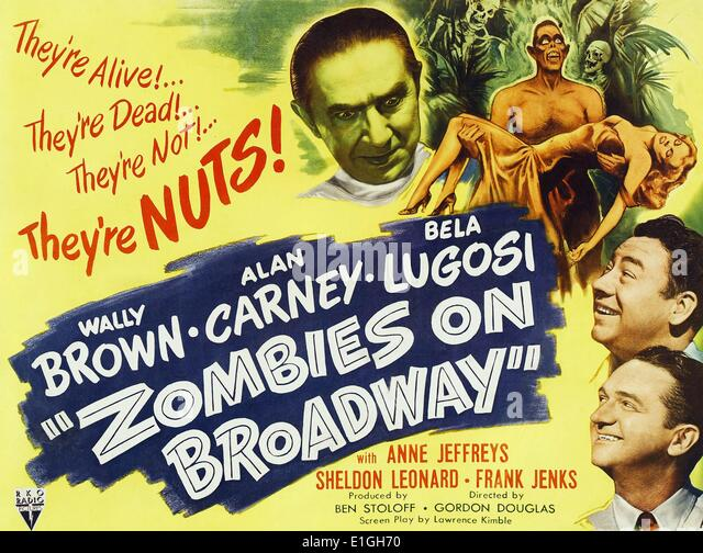 Lobby Card for the film 'Zombies on Broadway' Zombies on Broadway, an American Comedy-horror film released - Stock Image