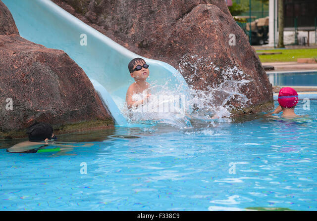 Children Water Slide Splash Stock Photos Children Water
