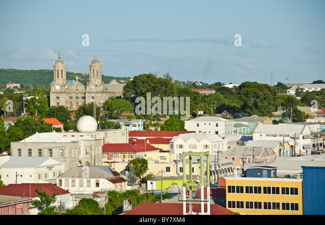 St Johns Antigua cityscape overview with houses, stops and cathedral - Stock Image