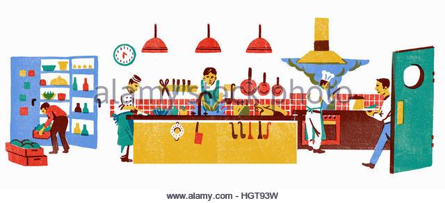 Chefs working in busy restaurant kitchen - Stock-Bilder