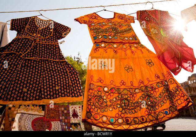 Dresses For Sale In Sadar Market Jodhpur Rajasthan India - Stock Image