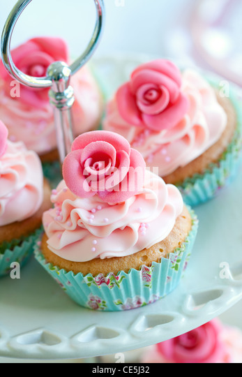Rose cupcakes - Stock Image