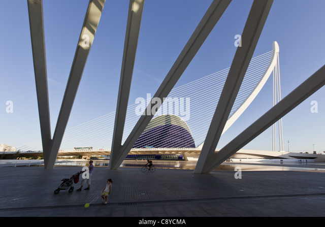 Agora, Puente de l Assut, bridge, City of sciences, Calatrava, Valencia, Spain - Stock Image