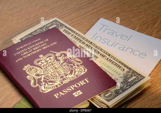 UK British passport with US Dollar money and travel insurance - Stock-Bilder