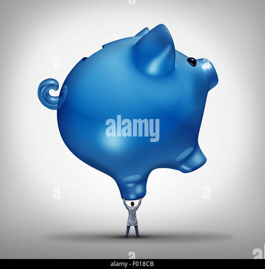 Hospital costs health care budget concept as a doctor holding up a giant piggy bank icon as a medical financial - Stock Image