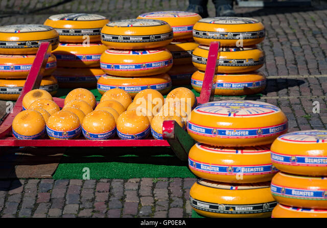 Cheese at the Edam cheese market, Edam, Netherlands - Stock Image
