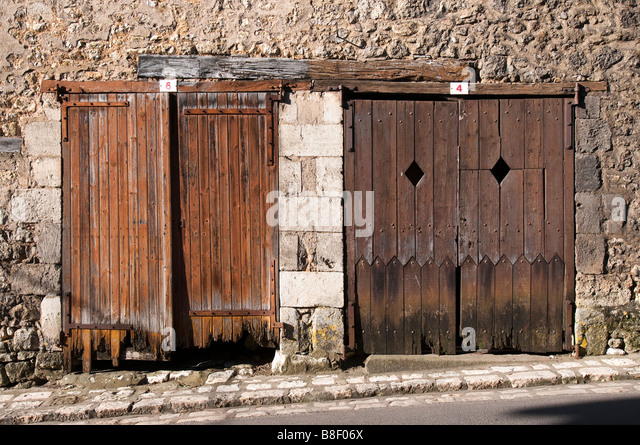 Garage wooden doors stock photos garage wooden doors for Garage ad france