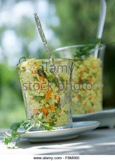 Couscous salad in glasses - Stock Image