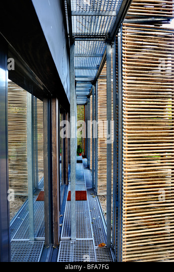 Paris, France, Green House, Passive House, Detail, Bamboo Shades outside Insulated Glass Doors, Buildings - Stock Image