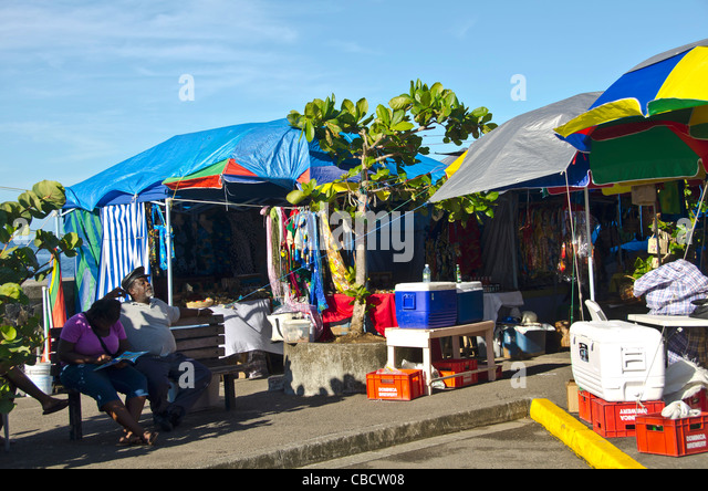 Saturday market along the downtown waterfront, Roseau Dominica - Stock Image