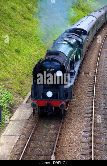 Steam train on Bluebell Railway, Horsted Keynes, West Sussex, England, UK - Stock Image